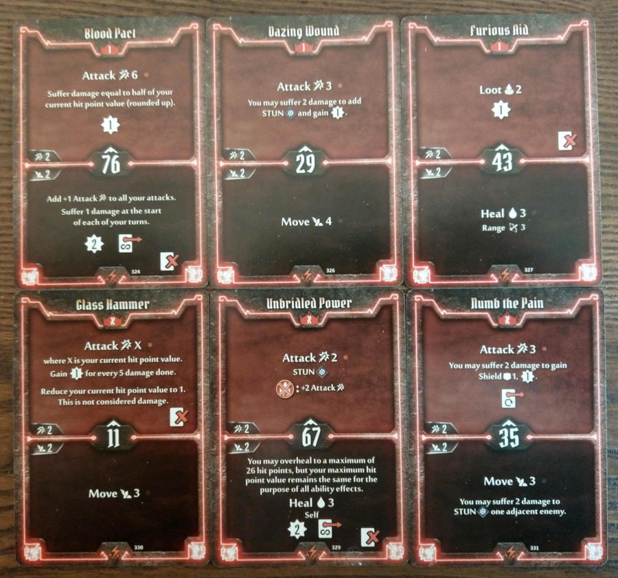 Gloomhaven Berserker cards level 1 and X