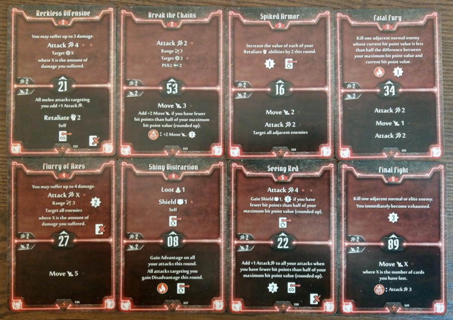 Gloomhaven Berserker cards level 2 to 5
