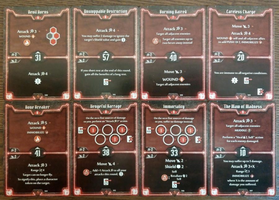 Gloomhaven Berserker cards level 6 to 9