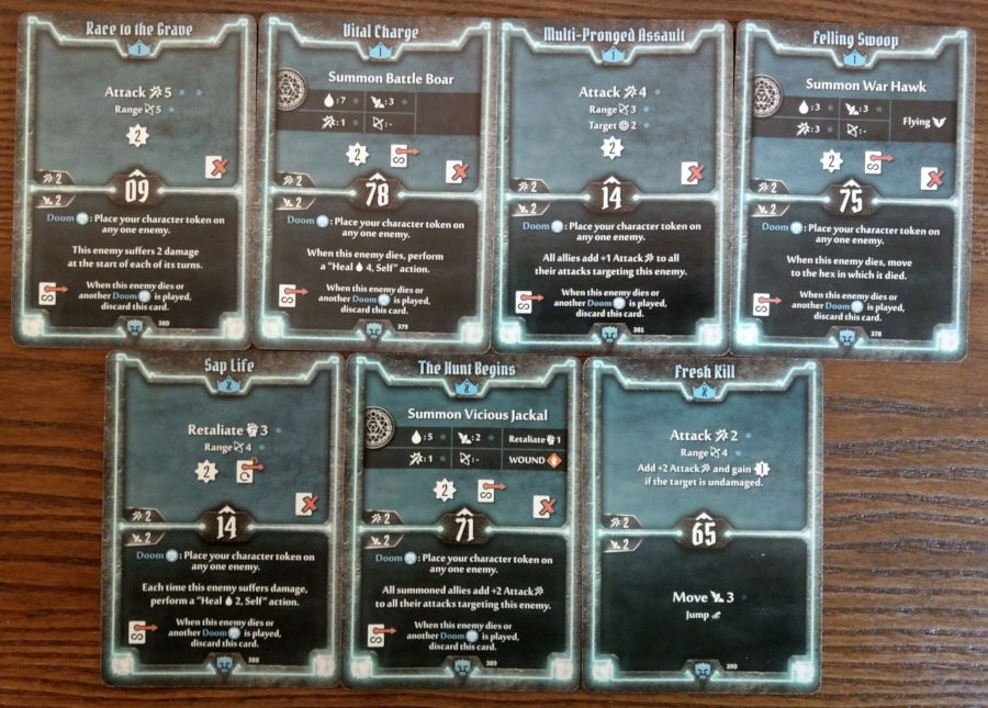 Doomstalker cards level 1 and X