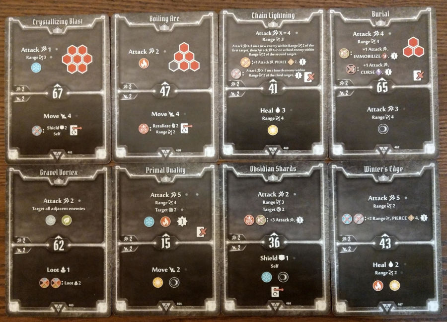 Elementalist cards levels 2 to 5