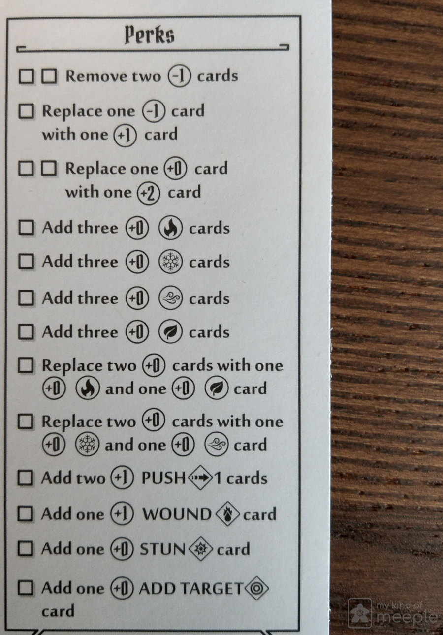 Gloomhaven Elementalist locked class perks sheet