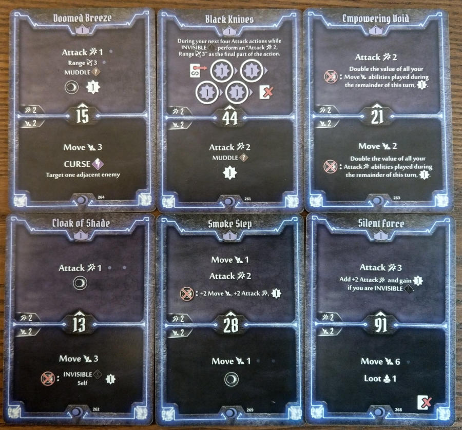 Gloomhaven Nightshroud cards level 1