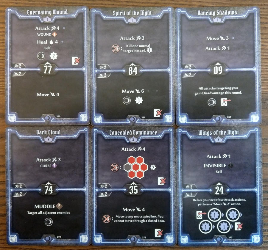 Gloomhaven Nightshroud cards level 1 and X