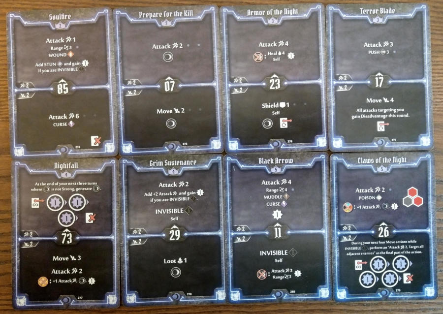 Gloomhaven Nightshroud cards level 2 to 5