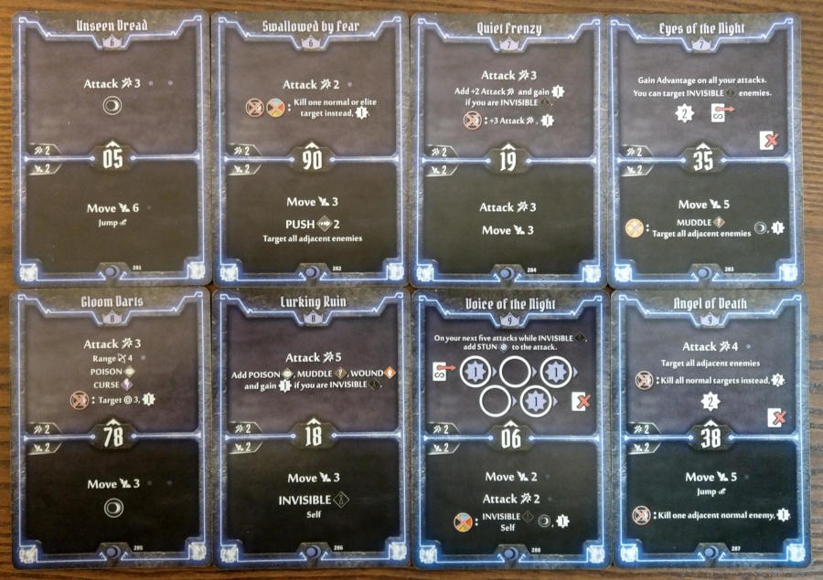 Gloomhaven Nightshroud cards level 6 to 9