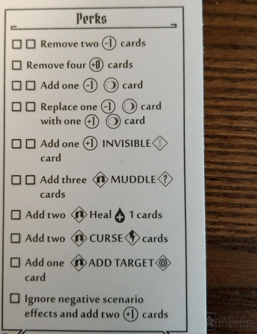 Gloomhaven Nightshroud perks sheet