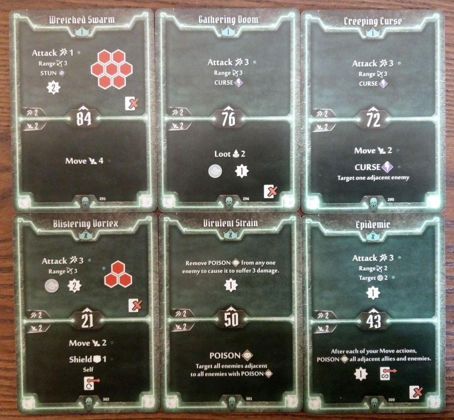 Gloomhaven Plagueherald cards level 1 and X