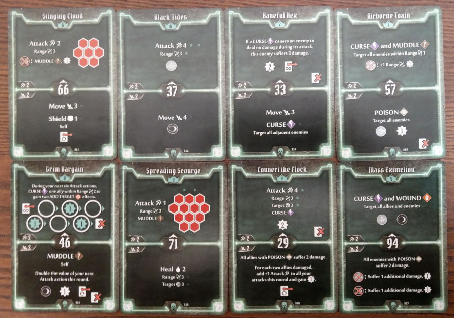 Gloomhaven Plagueherald cards level 6 to 9