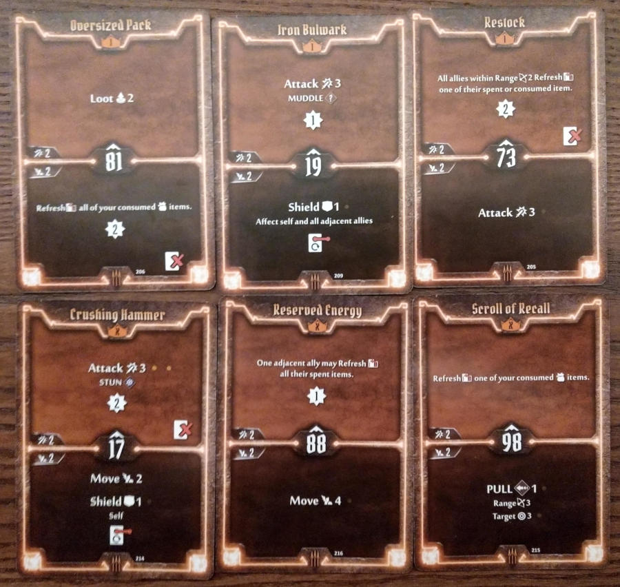 Gloomhaven Quartermaster cards level 1 and X