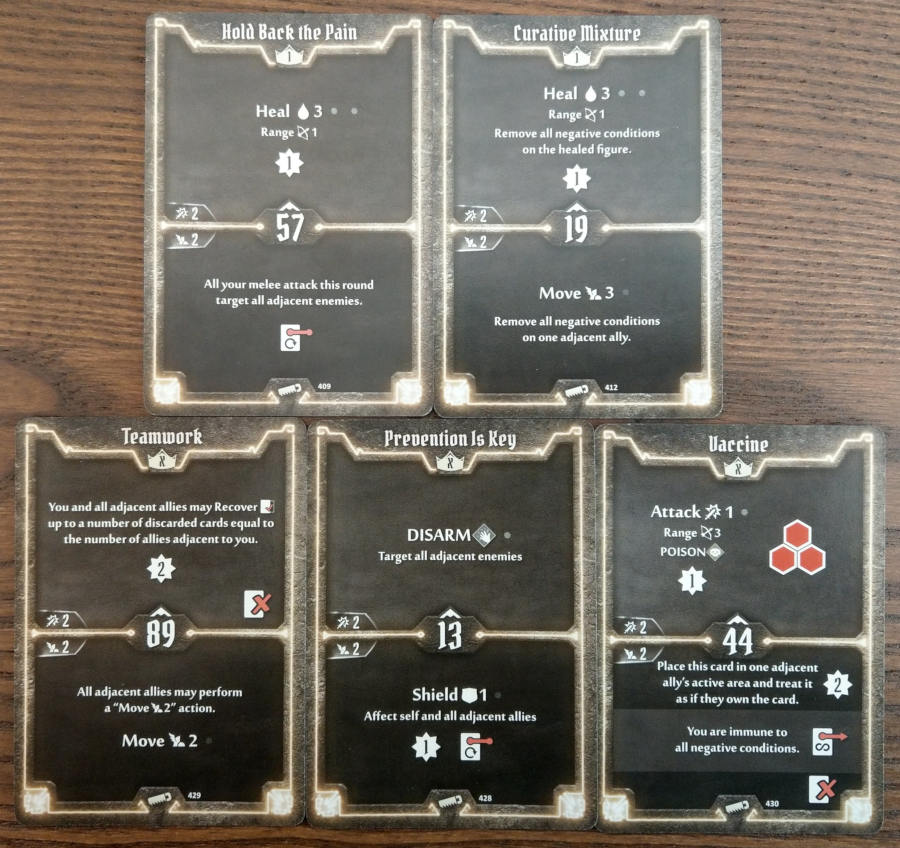 Gloomhaven Sawbones cards level 1 and X