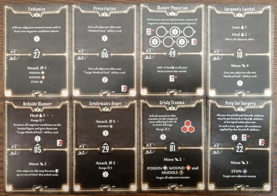 Gloomhaven Sawbones cards level 6 to 9