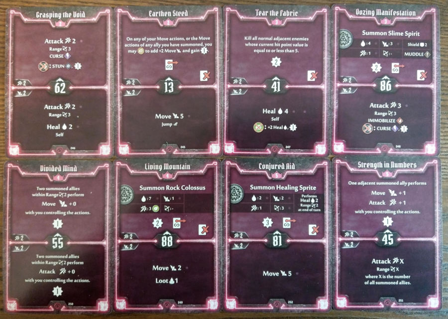 Gloomhaven Summoner cards level 2 to 5