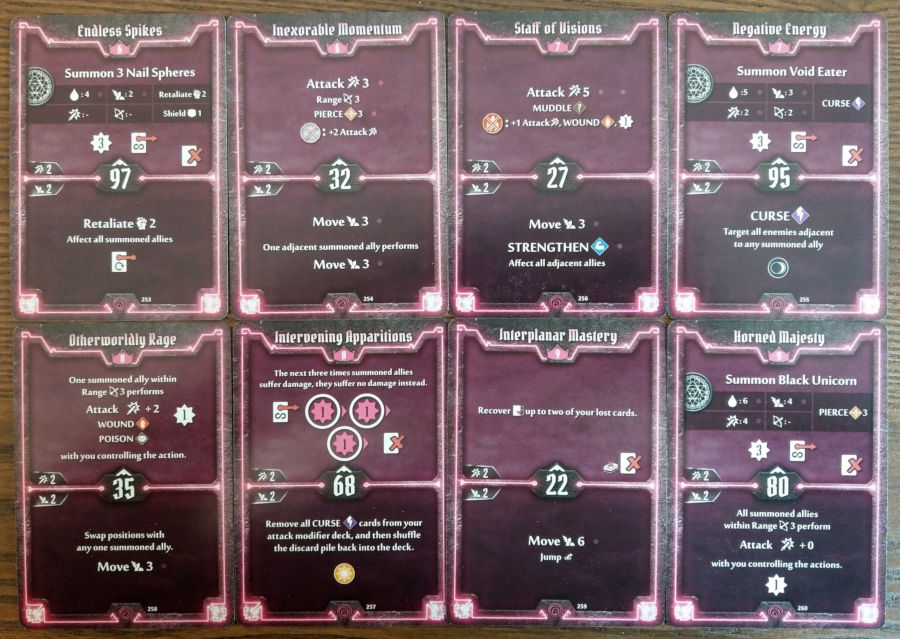 Gloomhaven Summoner cards level 6 to 9