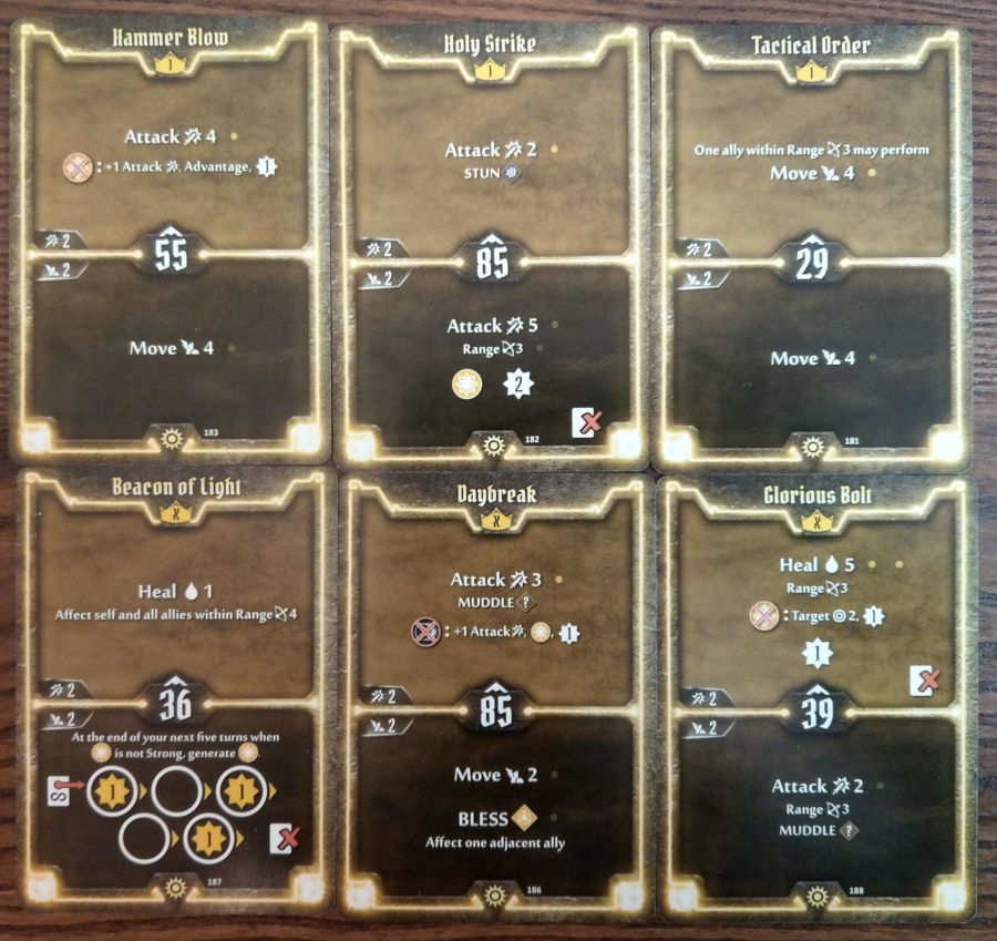 Gloomhaven Sunkeeper cards level 1 and X