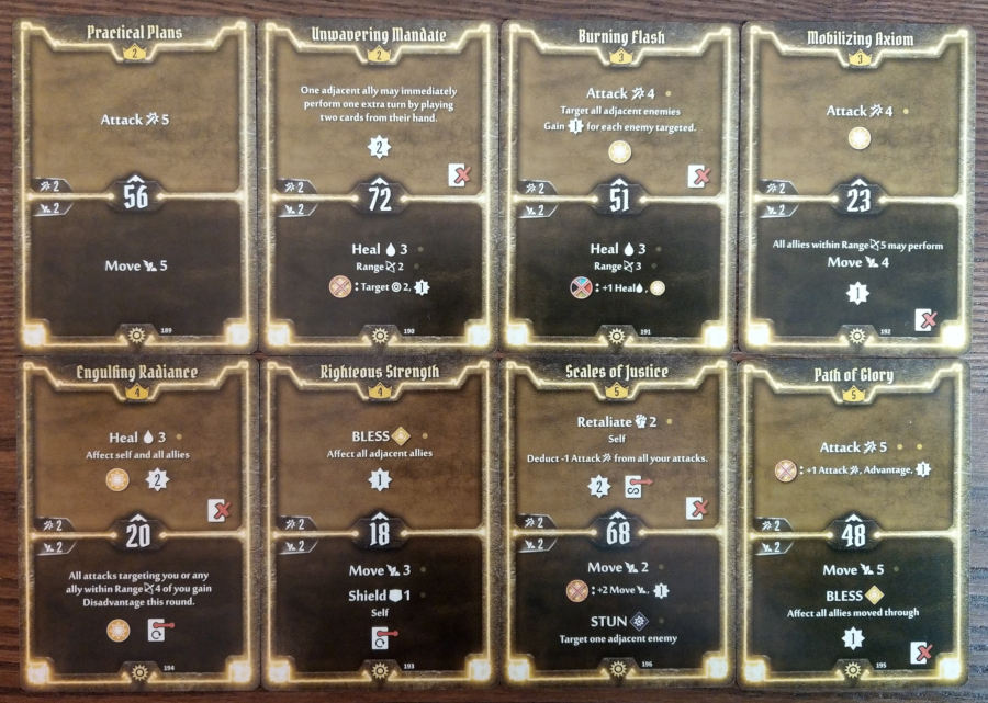 Gloomhaven Sunkeeper cards level 2 to 5