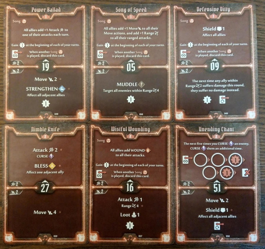 Gloomhaven Soothsinger cards level 1 and X