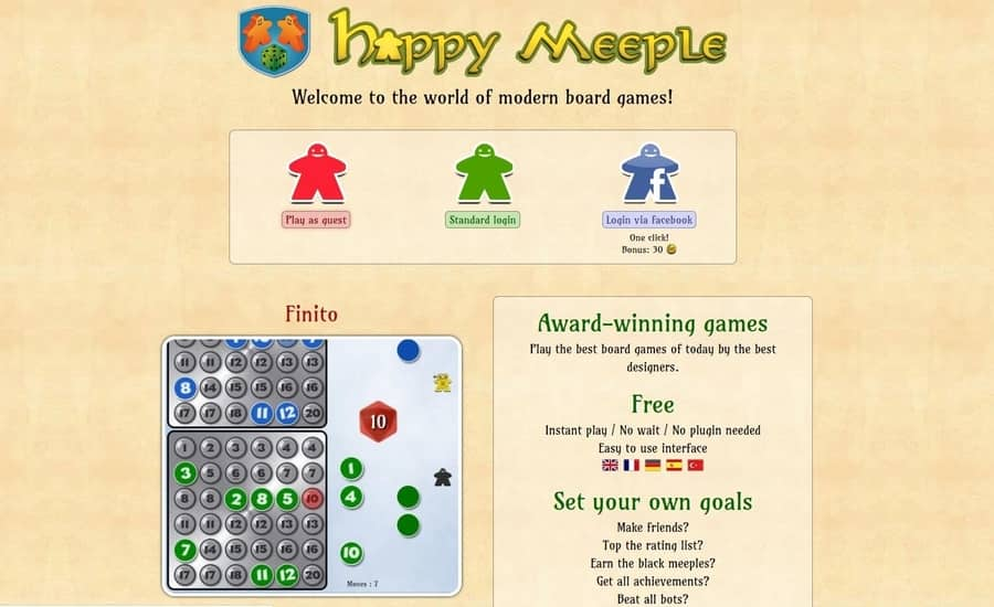 Happy Meeple Home Page a site to play 2 player board games online