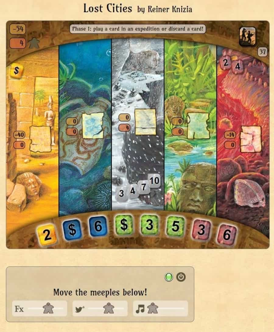 Lost Cities board game on Happy Meeple website