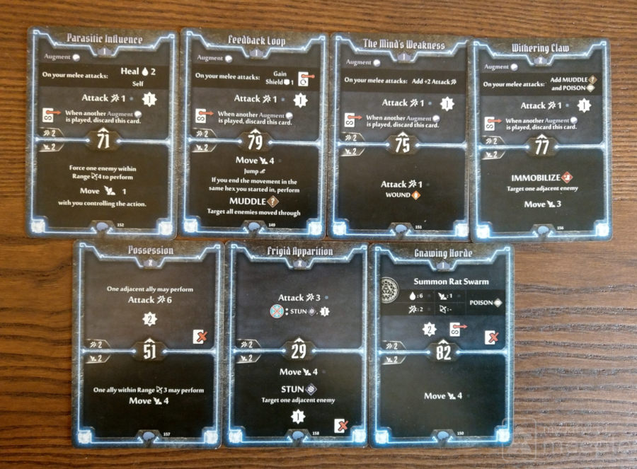 Level 1 and X starting cards for the Mindthief in Gloomhaven