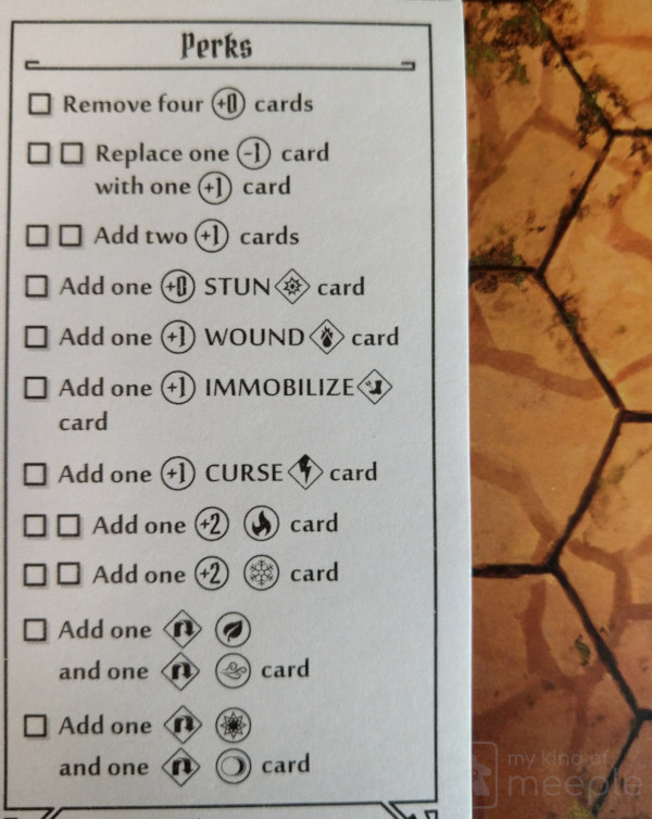 Perk sheet for Spellweaver in Gloomhaven