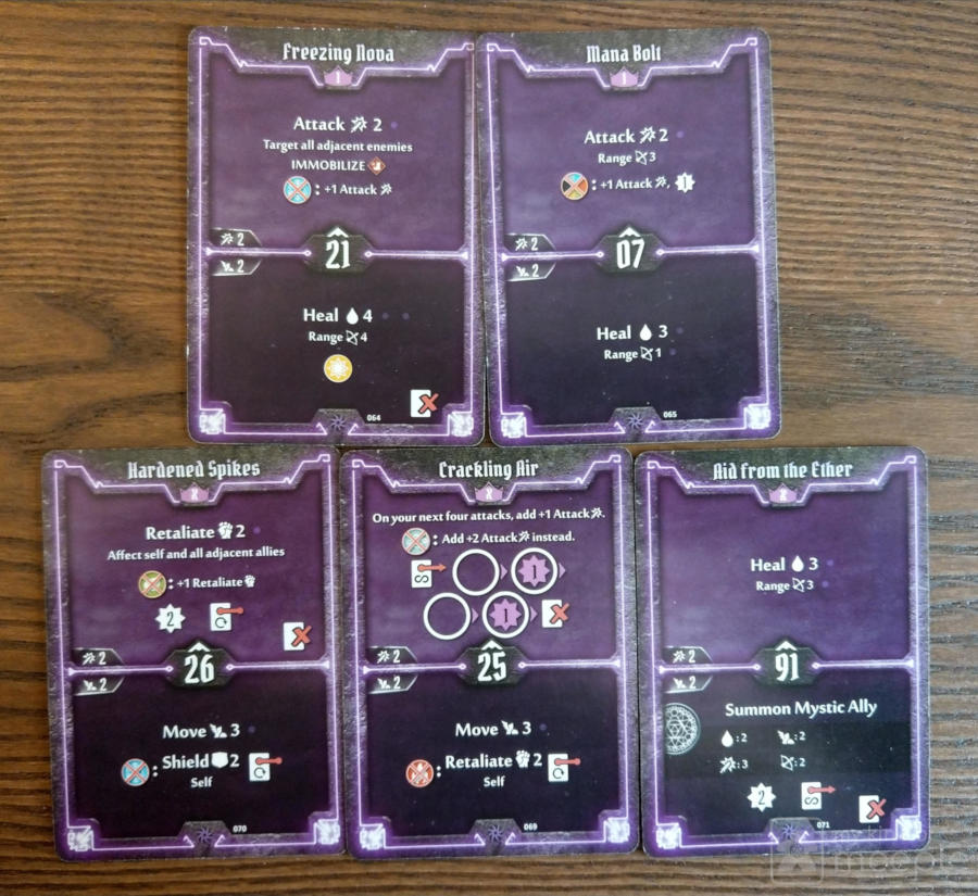 Level 1 and X starting cards for the Spellweaver in Gloomhaven