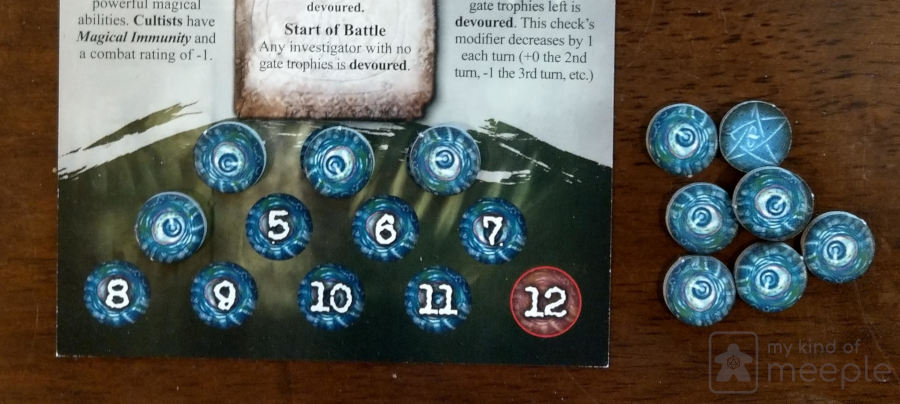 Counters on an ancient one in Arkham Horror: Call of Cthulhu