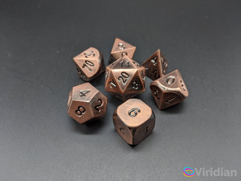 Brushed metal dice. Image credit: Viridian Gaming on Etsy.