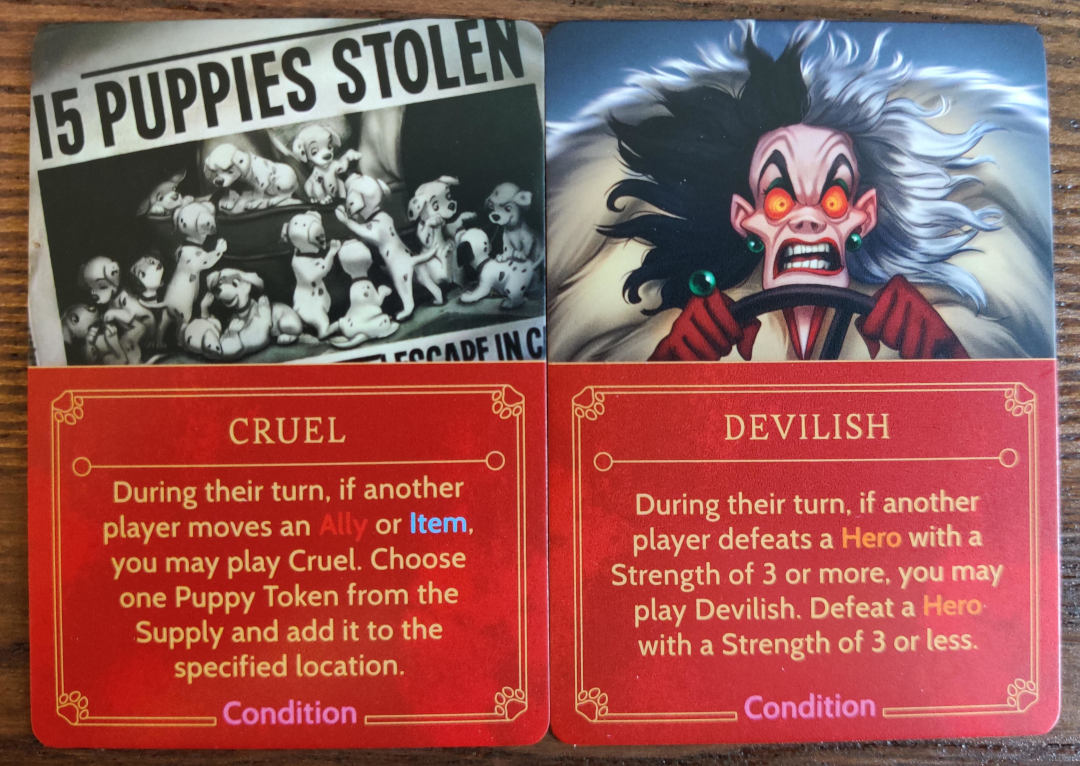 Cruella De Vil's Condition cards in Disney Villainous