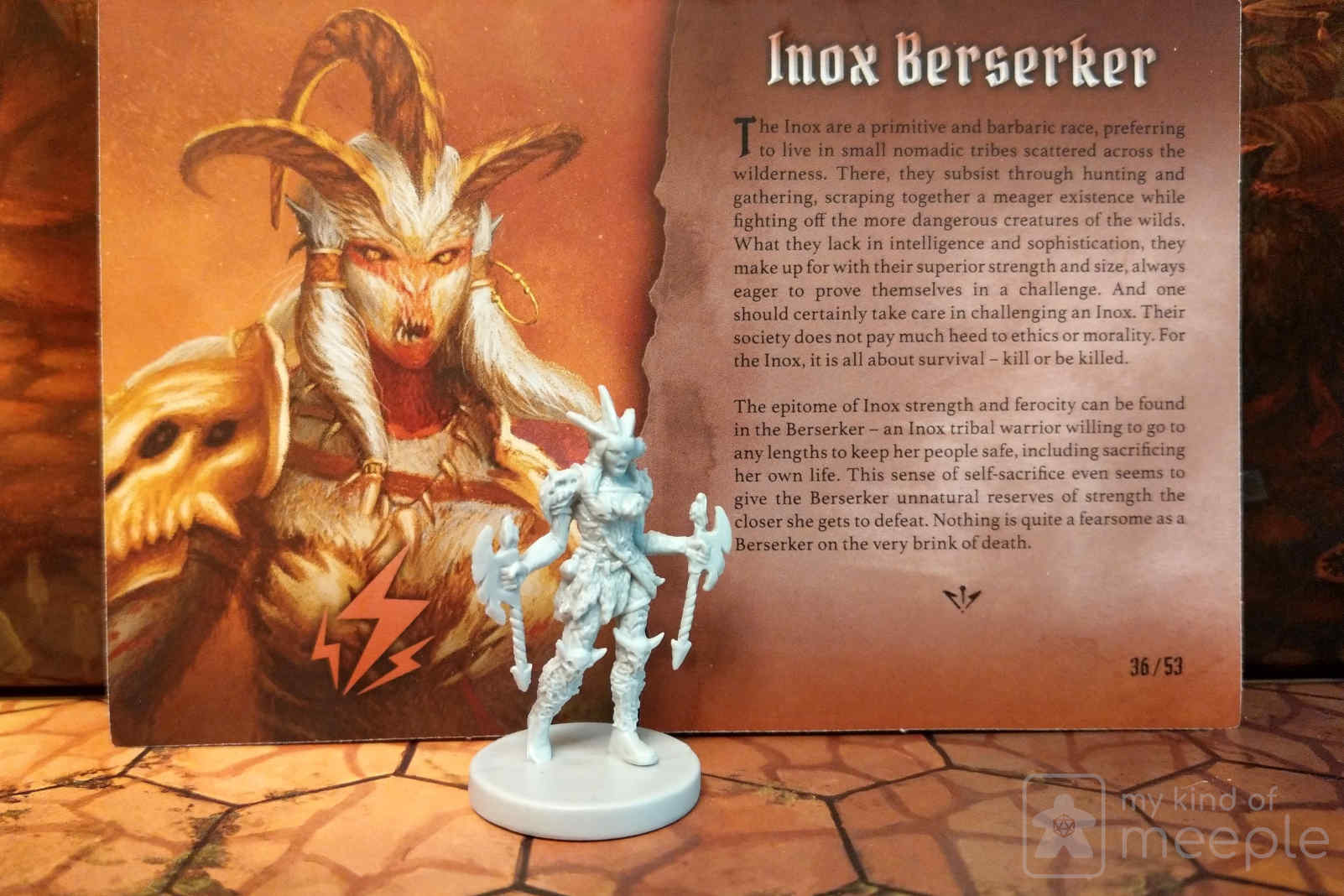 Gloomhaven Berserker locked class miniature and character board