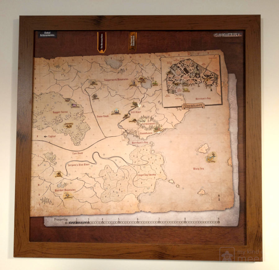 The Gloomhaven map framed and on our wall