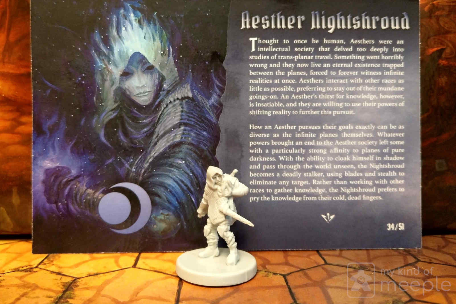 Gloomhaven Nightshroud Eclipse Moon Class miniature and board