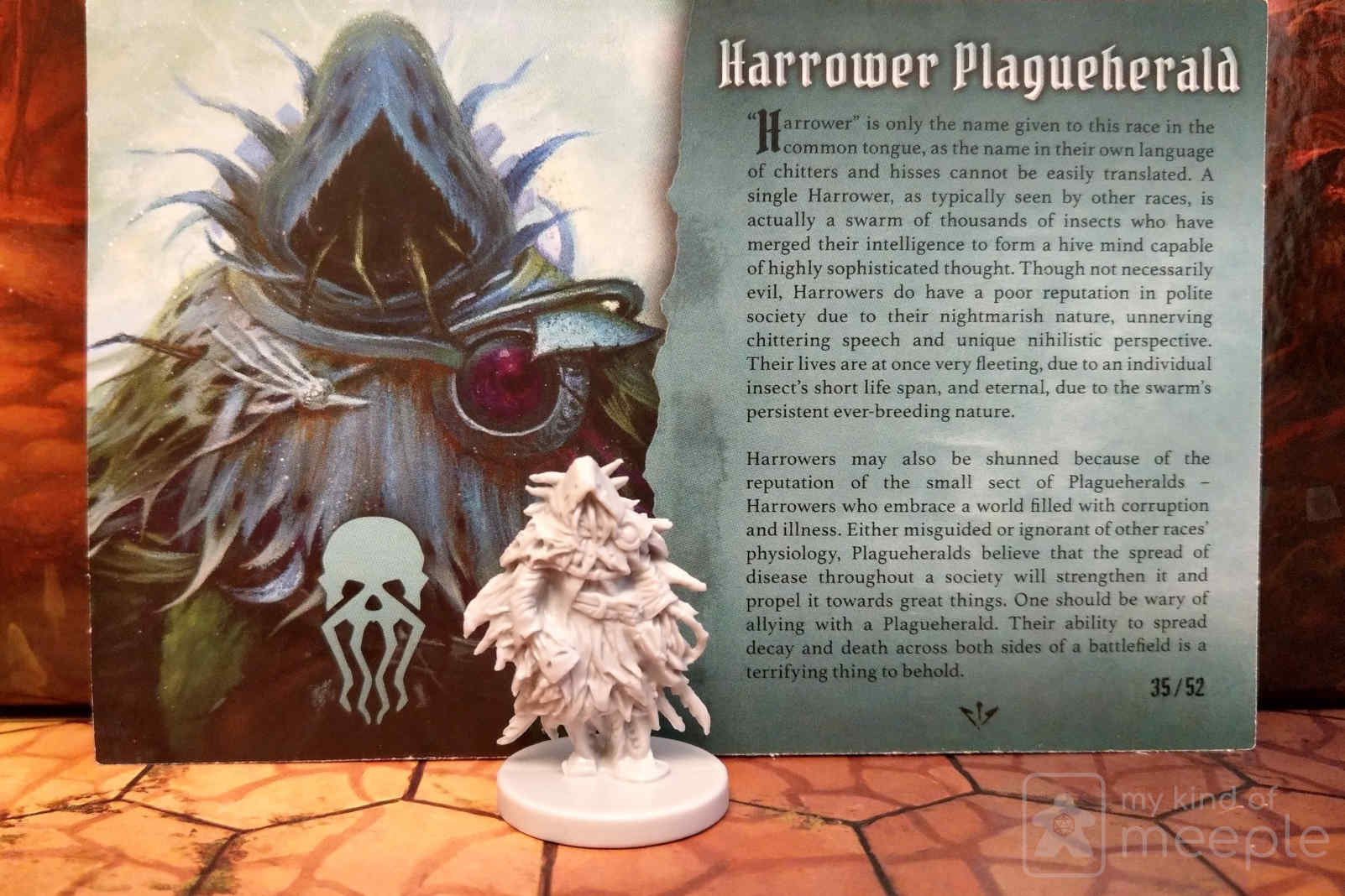 Gloomhaven Plagueherald locked class miniature and character board