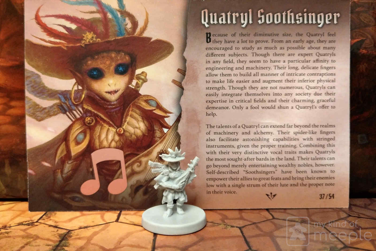 Gloomhaven locked class Soothsinger character miniature and board