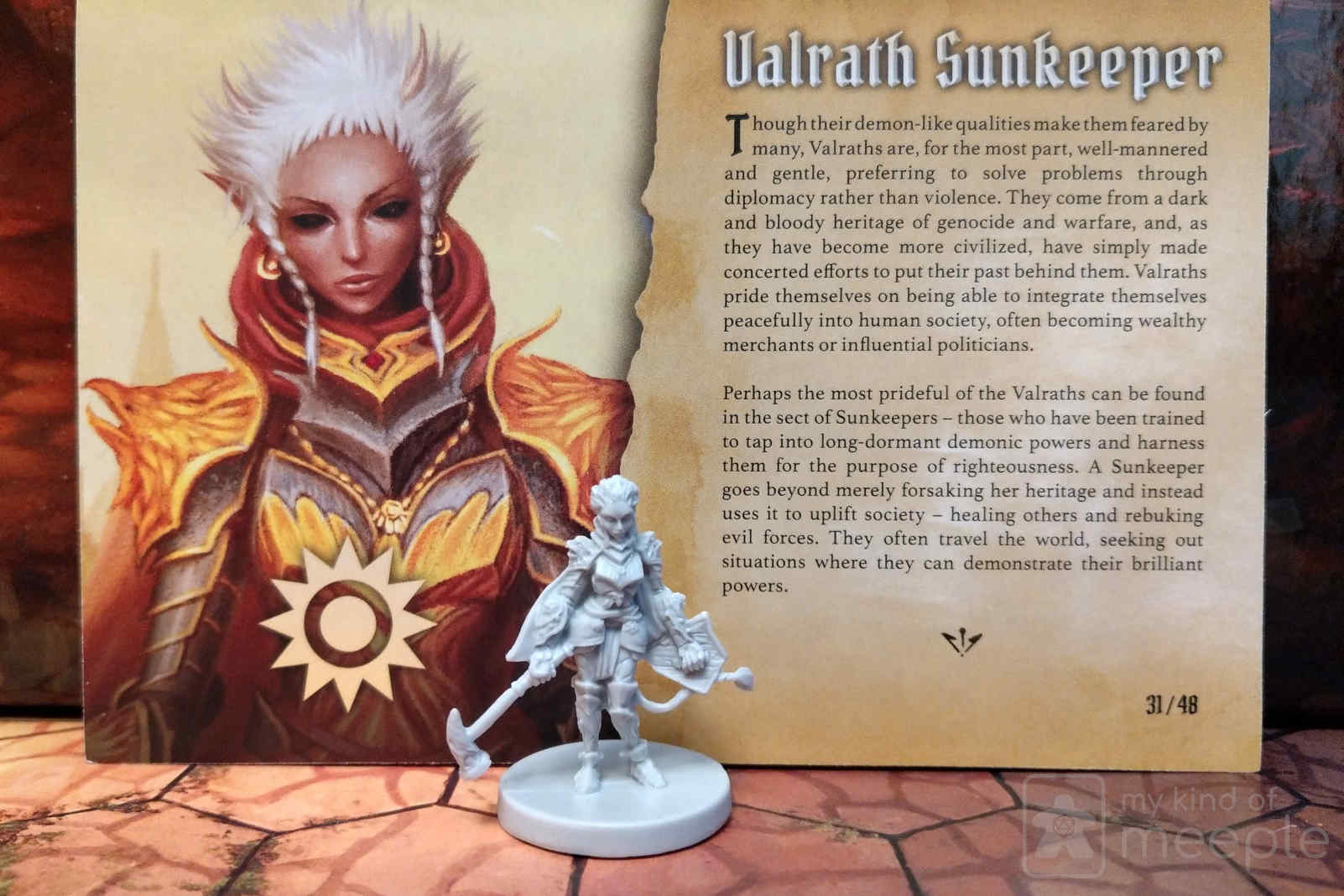 Gloomhaven Sunkeeper locked class miniature and character board