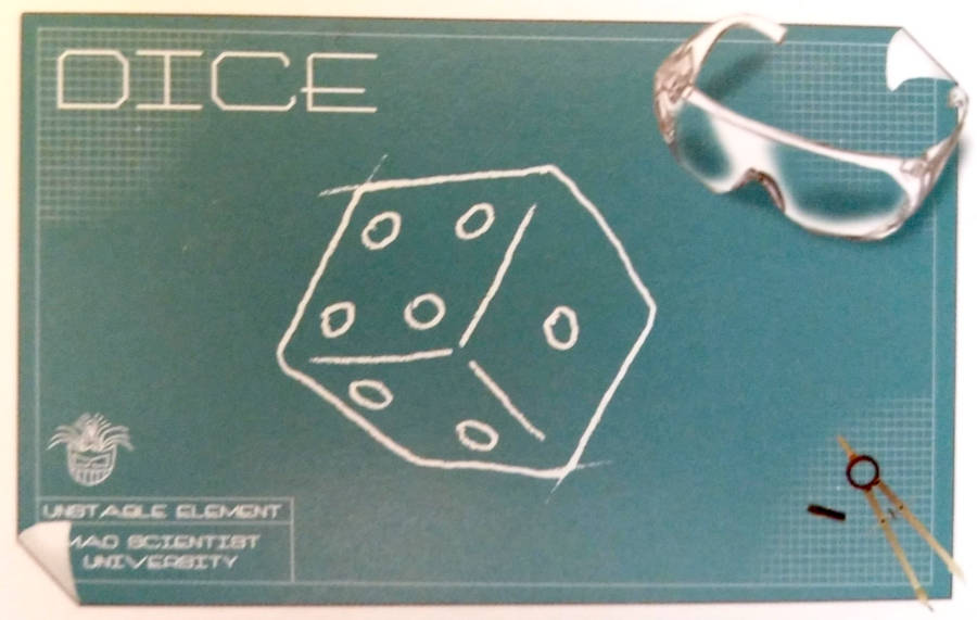 Mad Scientist University Dice card