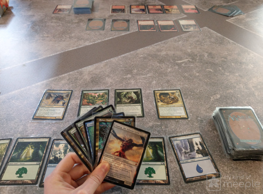 Magic: The Gathering green and blue deck versus red