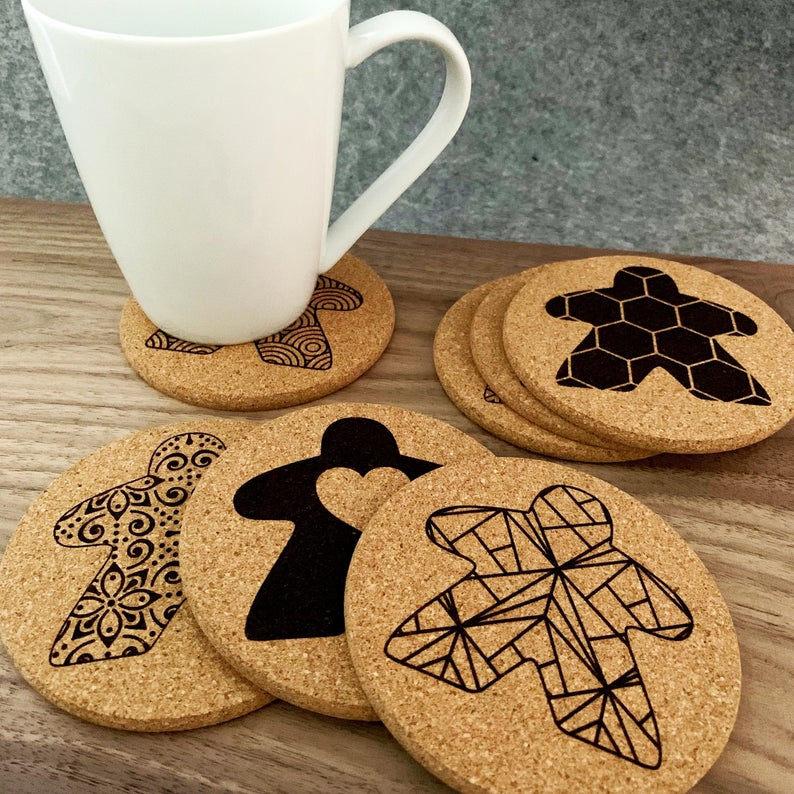 Meeple coasters. Image credit: Beam Geeks on Etsy