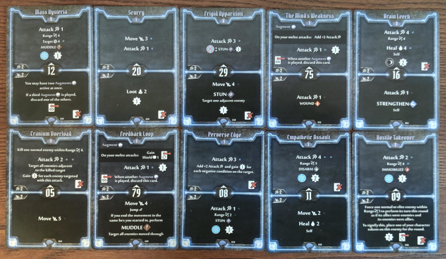 Mindthief level 5 cards Frozen Mind and Mass Hysteria