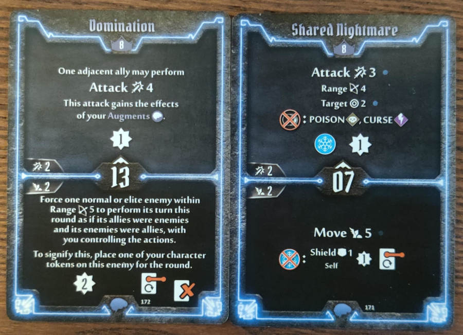 Mindthief level 8 cards Domination and Shared Nightmare