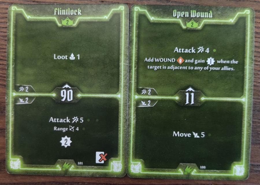 Scoundrel level 2 cards - Flintlock, Open Wound