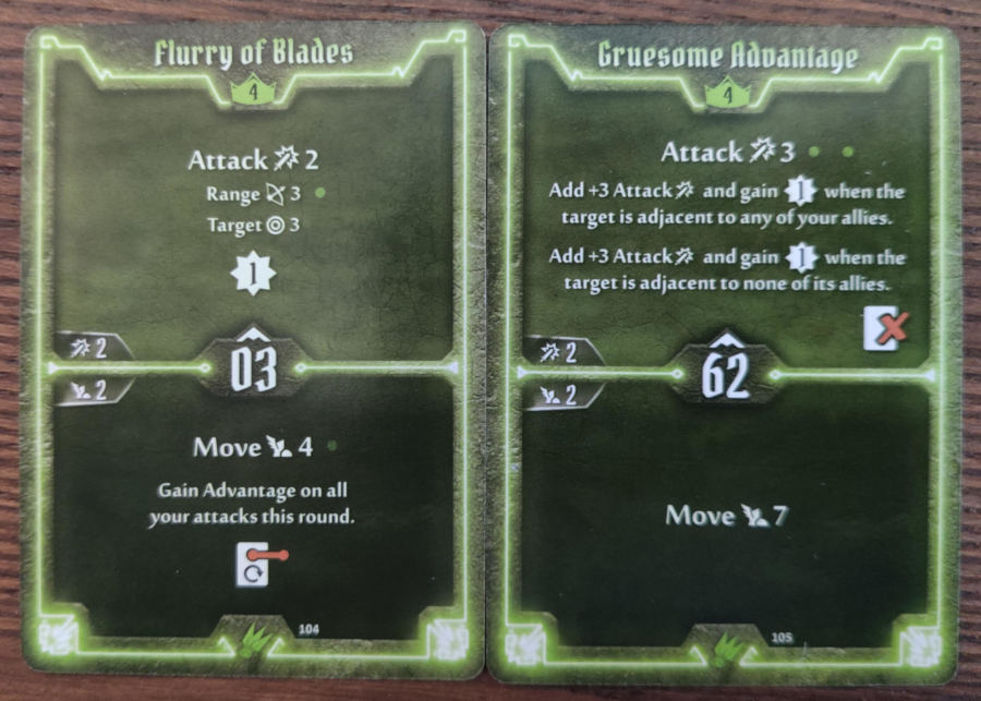 Scoundrel level 4 cards - Flurry of Blades, Gruesome Advantage