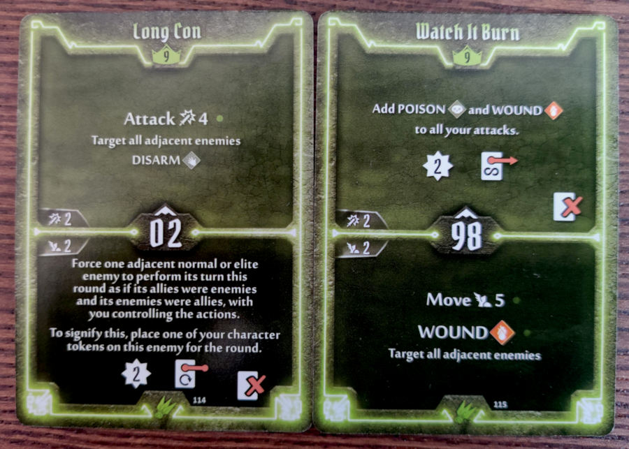 Scoundrel level 9 cards - Long Con, Watch It Burn