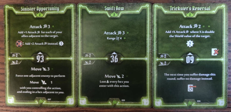 Scoundrel level X cards - Sinister Opportunity, Swift Bow, Trickster's Reversal