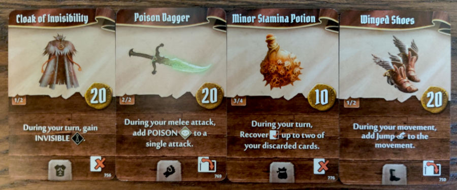 Scoundrel single target Poison build starting items - Cloak of Invisibility, Poison Dagger, Minor Stamina Potion, Winged Shoes