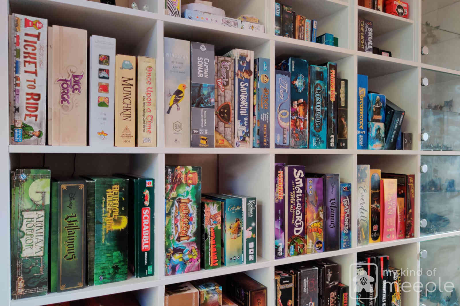 Hobbyist board games on my bookcase