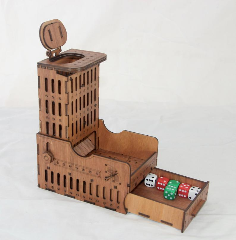 Steampunk dice tower. Image credit: BasicallyWooden on Etsy.