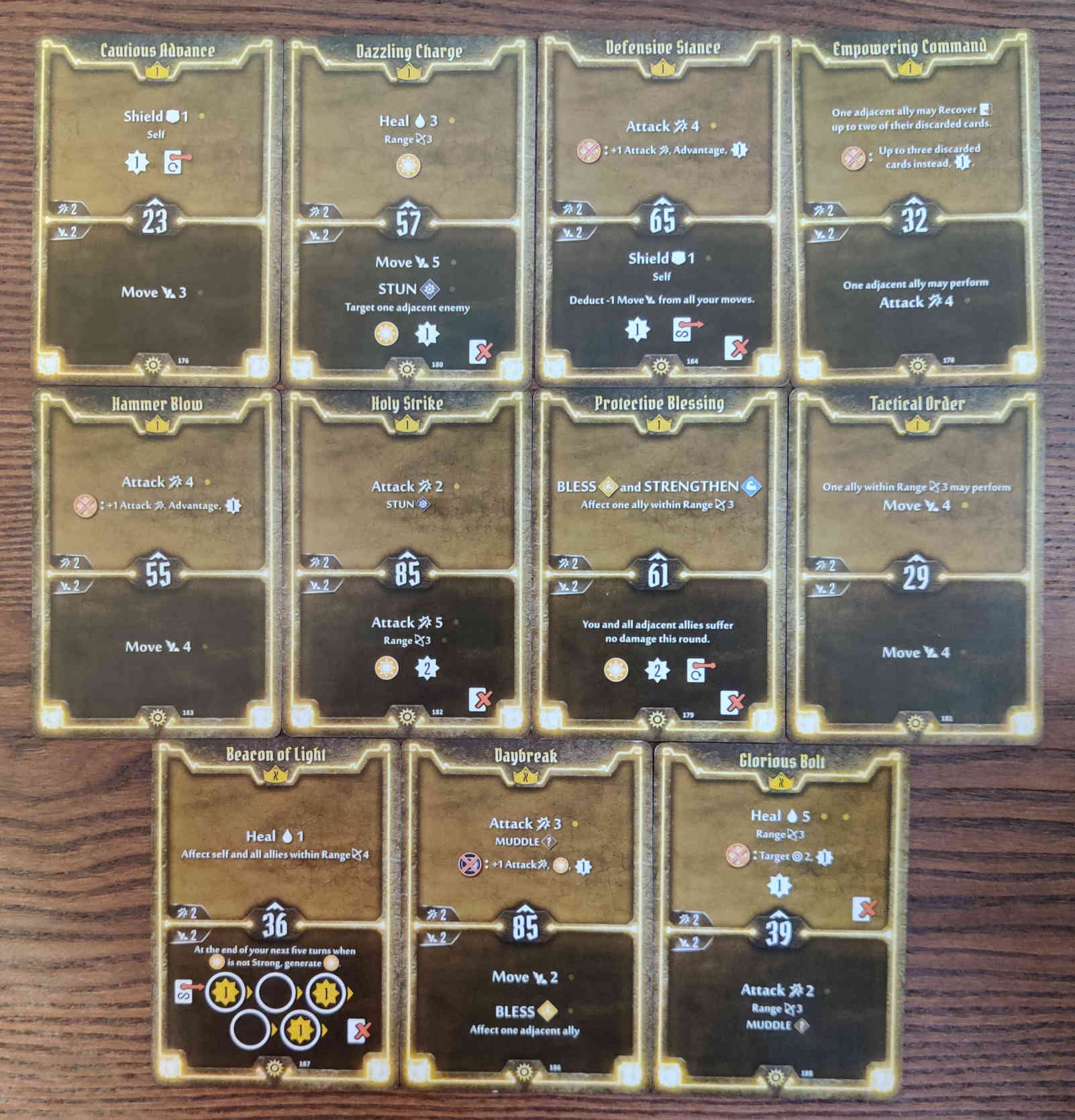 Gloomhaven Sunkeeper Damage Build Level 1 cards