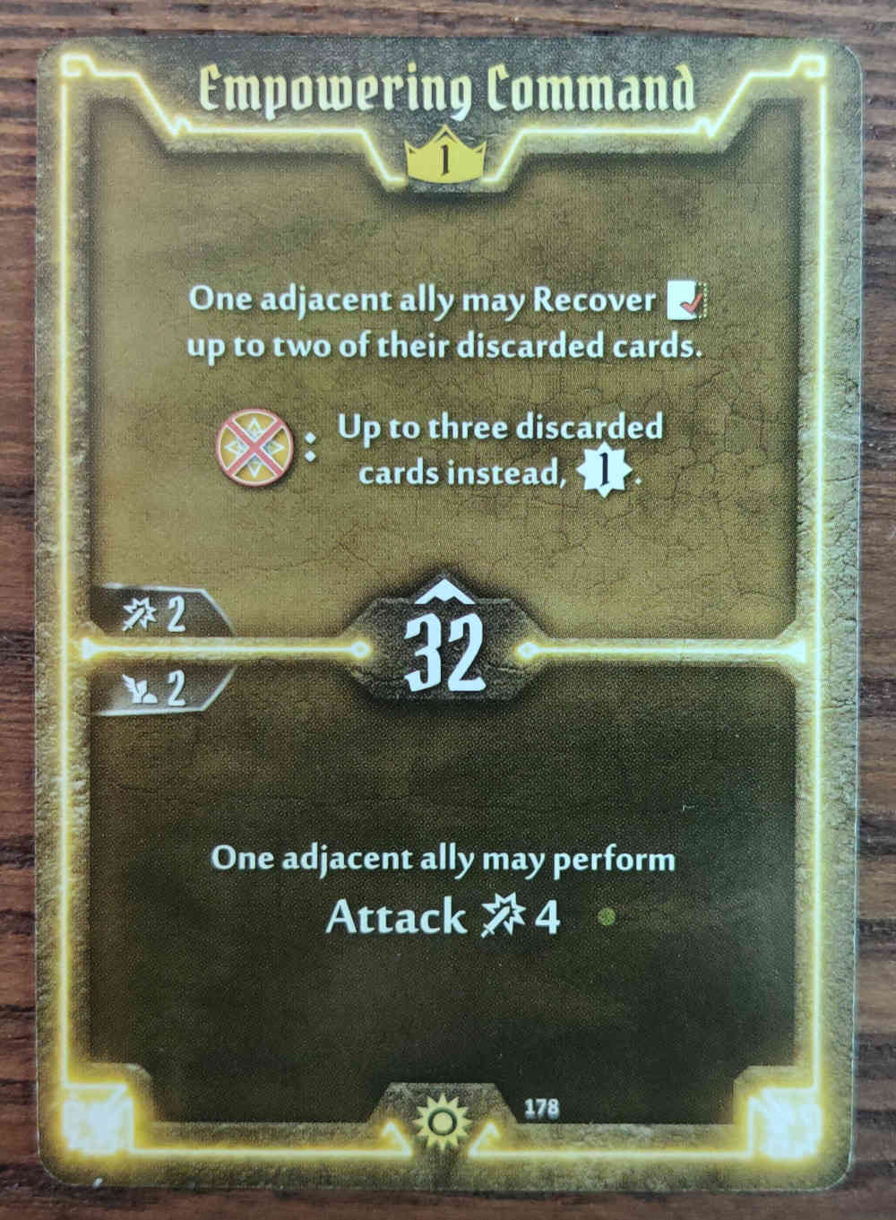 Gloomhaven Level 1 Sunkeeper Empowering Command card