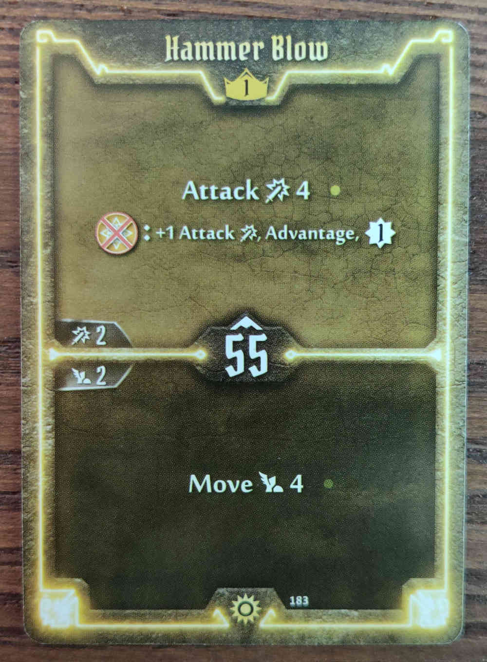 Level 1 Sunkeeper Hammer Blow card Gloomhaven